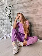 Женский летний спортивный костюм из двунити с укороченным топом (Норма), фото 4