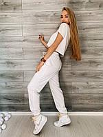 Жіночий літній спортивний костюм з двунити з укороченим топом (Норма), фото 5