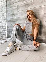 Женский летний спортивный костюм из двунити с укороченным топом (Норма), фото 6
