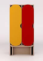 Детский шкаф в раздевалку с лавкой цветной ДШЛ-2.1