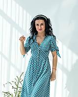 Летнее бирюзовое платье в белый горошек застегивается на пуговицы рукав с манжетной завязкой, фото 1