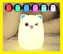 Нічний світильник силіконовий Котик Light Cat c акумулятором