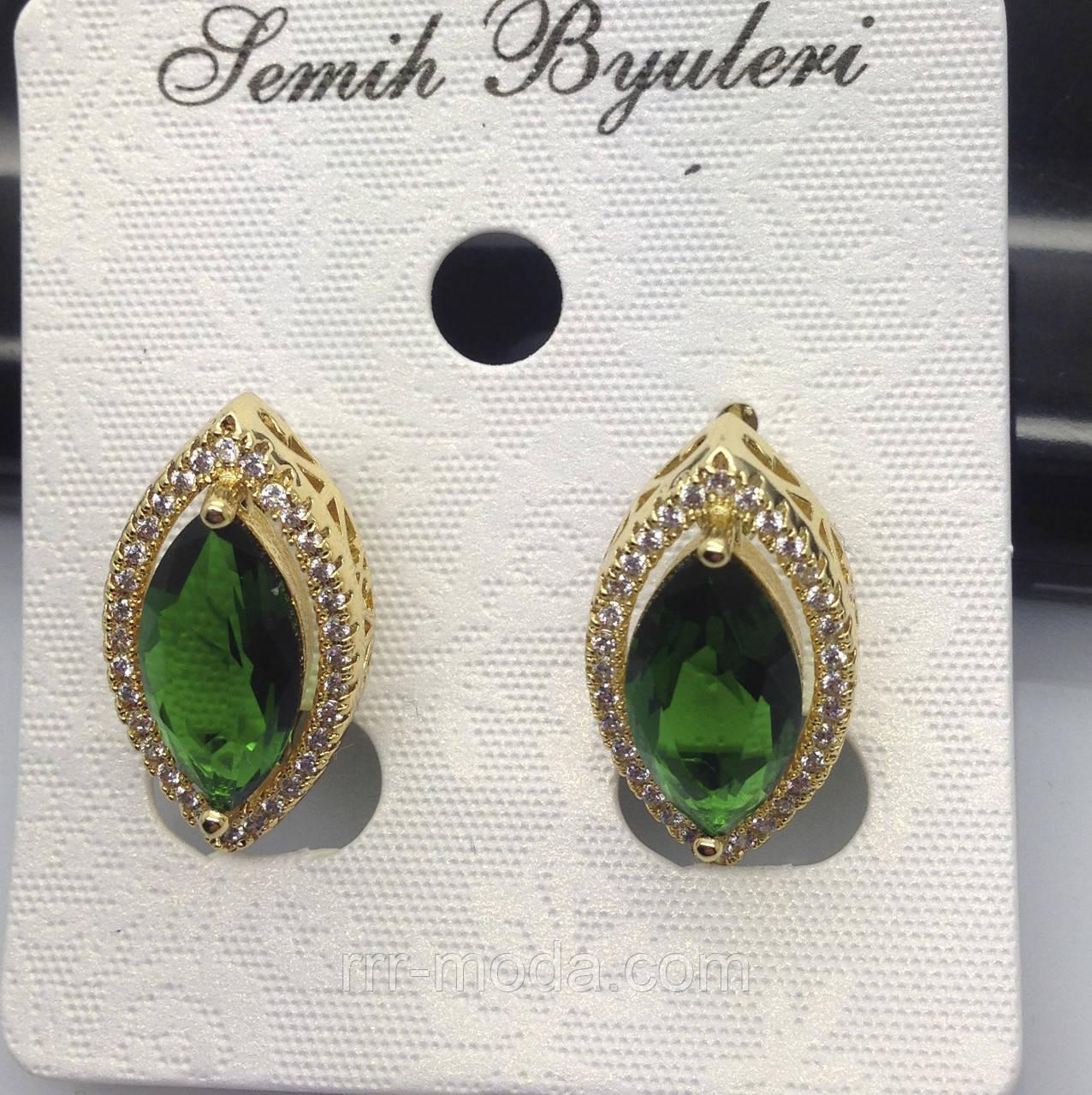 Серьги листики с зелёными кристаллами и камнями Сваровски. Бижутерия оптом от RRR. 487
