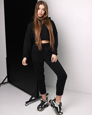 Женский костюм черный с капюшоном, укороченная худи, штаны на манжете, размеры - XS, S, M, весна / осень