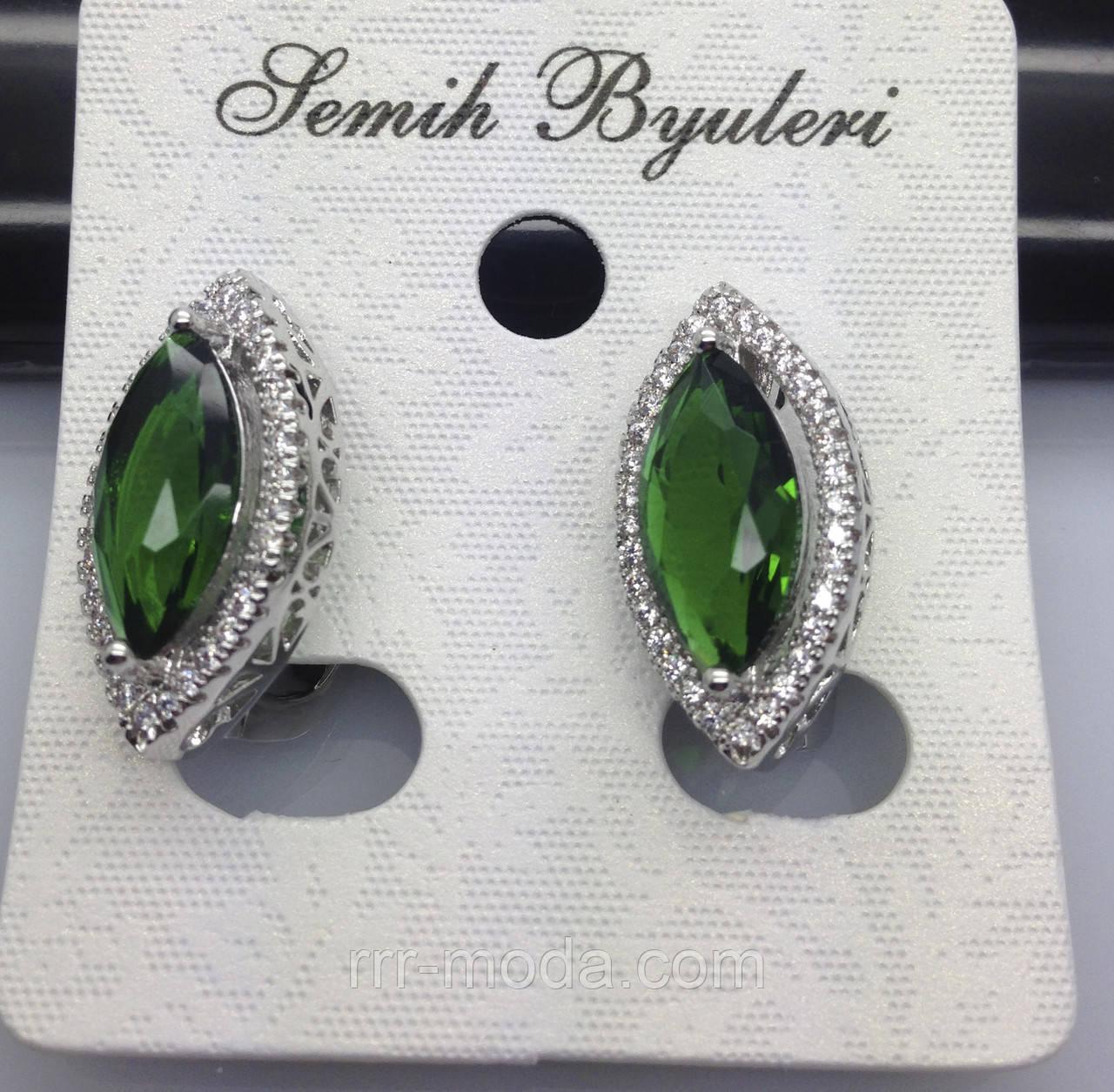 Серёжки листики с зелёными кристаллами и камнями Сваровски. Бижутерия оптом от RRR. 488