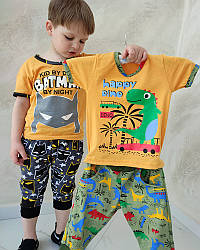 Летний комплект для мальчика футболка и шорты Бетмен и Дино