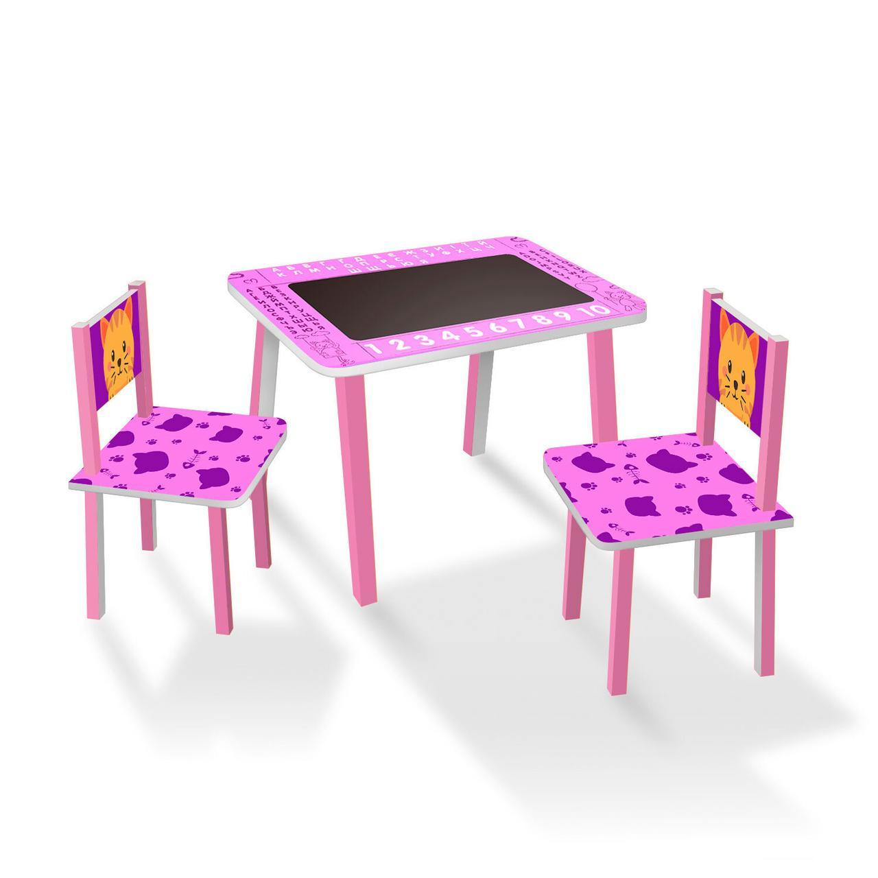 Набор детской мебели (столик с меловой поверхностью + 2 стульчика) арт. C065