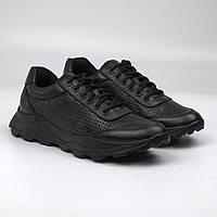 Мужские летние кроссовки повседневные черные кожаные сникерсы Rosso Avangard Ada IgE Perf Leath