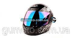 Шлем для мотоцикла черный с белым Virtue 02 взрослый размер L 58-59 см тонированное скло