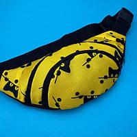 Стильна жіноча сумка на пояс ( бананка для дівчинки з котиками ) жовтий