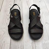 Сандали мужские кожаные Armani черные