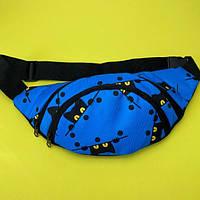 Стильна жіноча сумка на пояс ( бананка для дівчинки з котиками ) синій