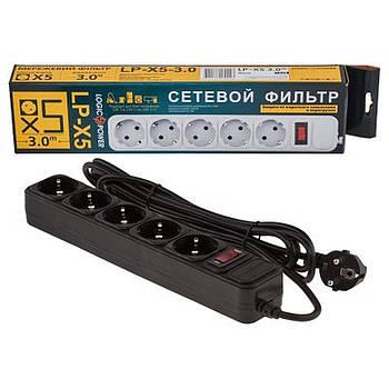 Сетевой фильтр питания LogicPower LP-X5 3m черный D100