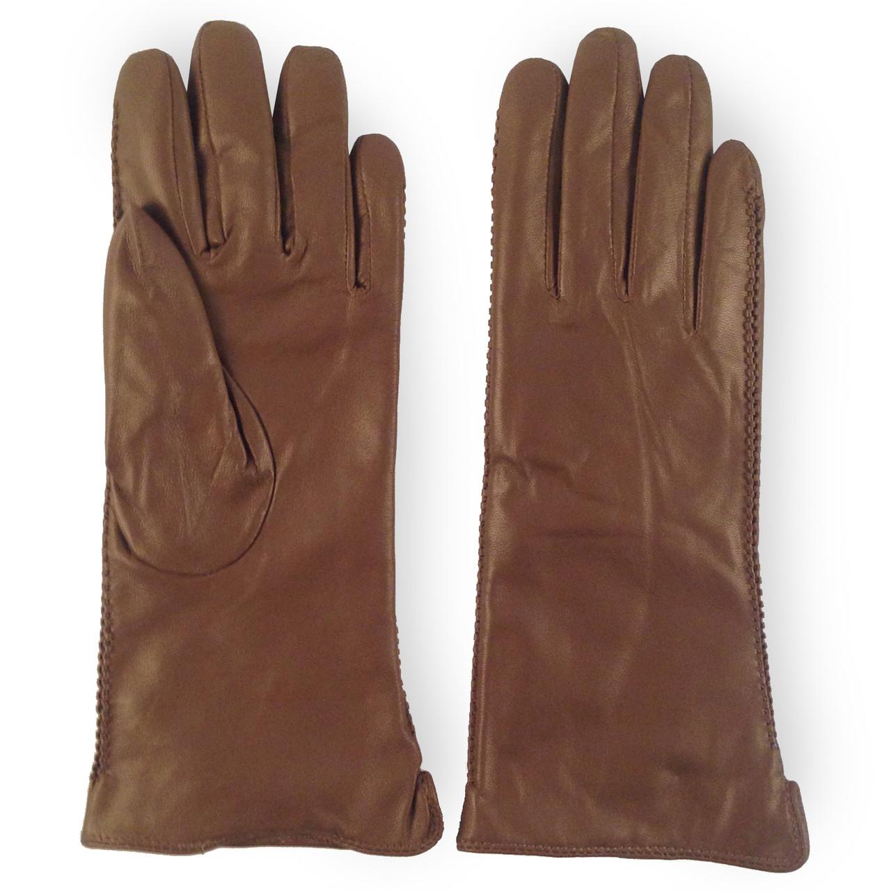 Женские перчатки ( кожаные, зимние, цвета кофе с молоком, мех шерстяной)