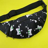 Стильна жіноча сумка на пояс ( бананка для дівчинки з котиками ) black