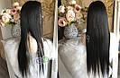 Довгий чорний парик 95 див. без чубчика, натуральний волосся, фото 7