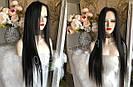 Довгий чорний парик 95 див. без чубчика, натуральний волосся, фото 4