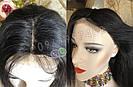 Длинный чёрный парик 85 см. без чёлки, натуральный волос, фото 2