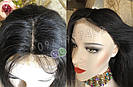 Довгий чорний парик 95 див. без чубчика, натуральний волосся, фото 2