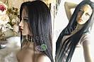 Довгий чорний парик 95 див. без чубчика, натуральний волосся, фото 3