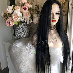 Длинный чёрный парик 85 см. без чёлки, натуральный волос