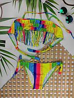 Разноцветный детский купальник с бахромой р 4-12
