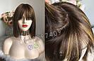 Натуральный парик с чёлкой с имитацией кожи головы, милировка коричневый каре, фото 5