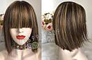 Натуральный парик с чёлкой с имитацией кожи головы, милировка коричневый каре, фото 3