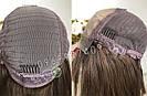 Натуральный парик с чёлкой с имитацией кожи головы, милировка коричневый каре, фото 6