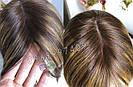 Натуральный парик с чёлкой с имитацией кожи головы, милировка коричневый каре, фото 7