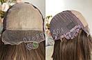 Натуральный парик с чёлкой с имитацией кожи головы, милировка коричневый каре, фото 4