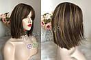 Натуральный парик с чёлкой с имитацией кожи головы, милировка коричневый каре, фото 10