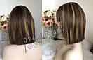 Натуральный парик с чёлкой с имитацией кожи головы, милировка коричневый каре, фото 9