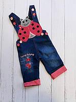 """Комбінезон дитячий джинсовий Божа корівка на дівчинку 1-4 роки """"MARI"""" купити недорого від прямого постачальника"""