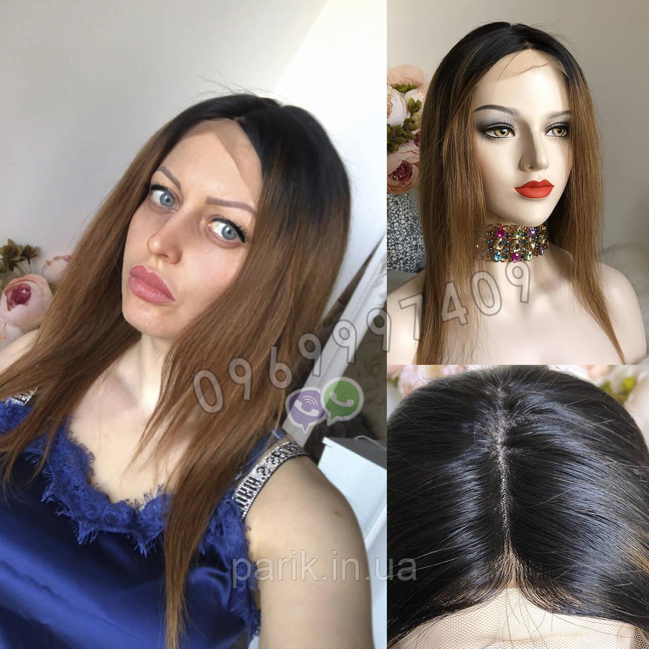 💎Натуральний жіночий парик золотистий з чубчиком, натуральний волосся 💎