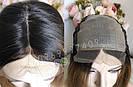 💎Натуральний жіночий парик золотистий з чубчиком, натуральний волосся 💎, фото 2
