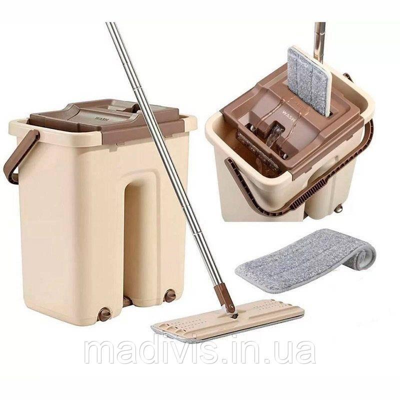 Швабра микрофибра с отжимом + ведро Scratch Cleaning Mop | Швабра лентяйка cleaner 360