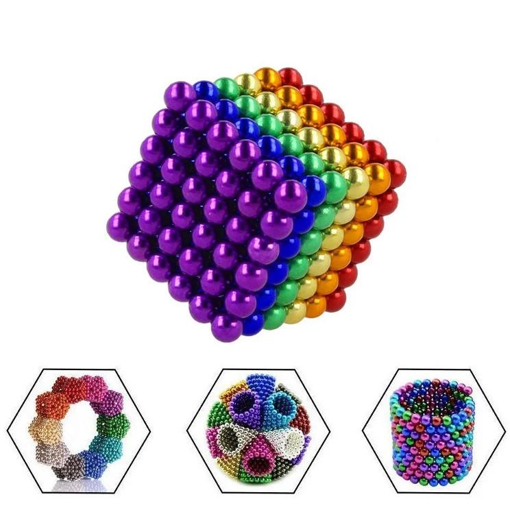 Неокуб 216 шариков 5мм в боксе Магнитные шарики Neocube цветной антистресс конструктор-головоломка никель