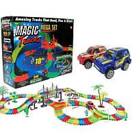 Гибкая гоночная трасса Magic tracks 360 деталей Автотрек светящийся с машинками Детский трек +2 машинки