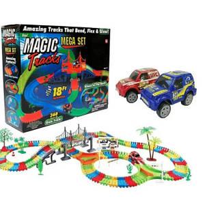 Гнучка гоночна траса Magic tracks 360 деталей Автотрек світиться з машинками Дитячий трек +2 машинки