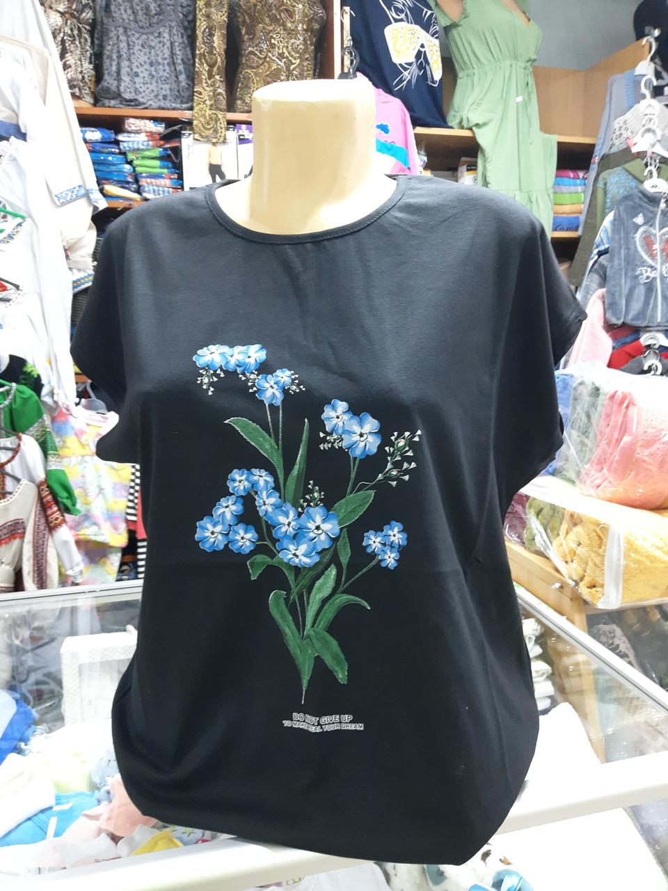 Жіноча літня футболка великі розміри 54 56