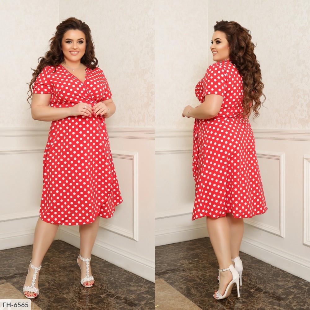 Платье на запах, №311, красный в горох, 44-58р.