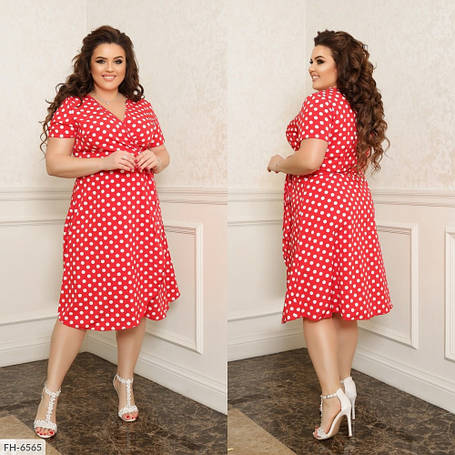 Платье на запах, №311, красный в горох, 44-58р., фото 2