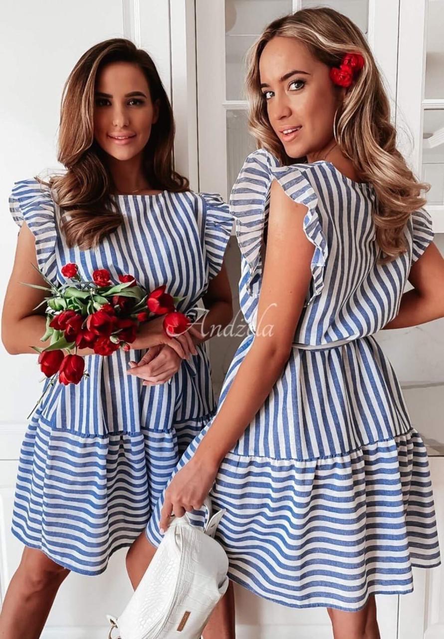 Легке лляне жіноче плаття в смужку і мереживами на плечах (р. 42-48)