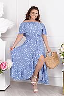 Платье женское крестьянка с воланами в горошек голубое больших размеров 48-54