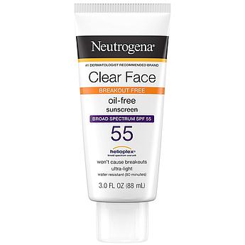Солнцезащитный крем для жирной кожи Neutrogena Clear Face Break-Out Free Liquid Lotion SPF 55 88 мл