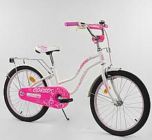 """Велосипед 20 """"дюймів 2-х колісний"""" CORSO """"Т-07504 БІЛИЙ, ручне гальмо, дзвіночок"""