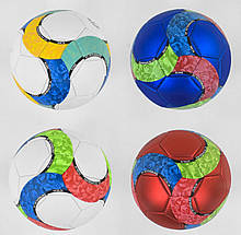 М'яч футбольний З 40060 4 кольори, матеріал PU, матовий, 350 грам, гумовий балон
