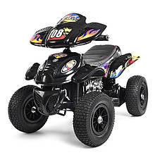 Квадроцикл M 2403ALR-2 (1шт) 2мотора 28W, 2аккум 6V7AH,рез.колеса,кож.сид.ручка.газа.,черный