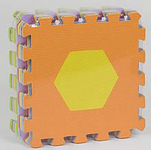 """Килимок-пазл EVA """"Геометричні фігури"""" НКС 028 (24) масажний, 9шт в упаковці, 30х30см"""